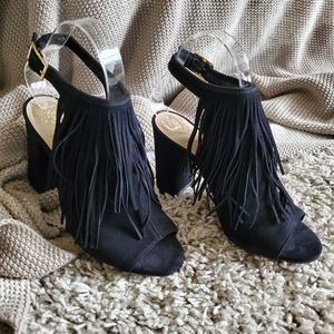 Vince Camuto Black Fring Shoes 6.5